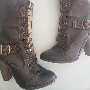Heeled Brown Fur Boots